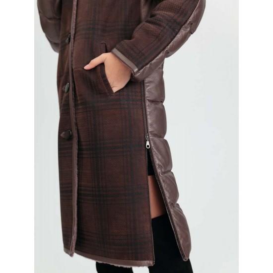 1001 Камила, Пуховик  женский комбинированный с дубленкой из овчины облегченной - патагония, капюшон