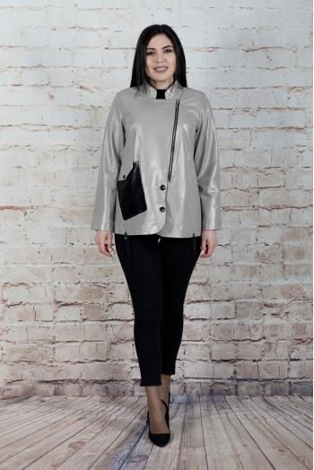 Куртка женская из натуральной кожи с воротником