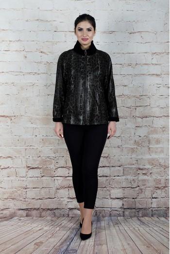 4637, Куртка женская из натуральной кожи с воротником