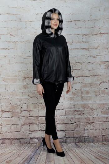 784, Куртка женская двусторонняя из натуральной кожи с капюшоном