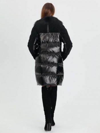 985 Шерил, Комбинированный женский пуховик с астраганом, воротник