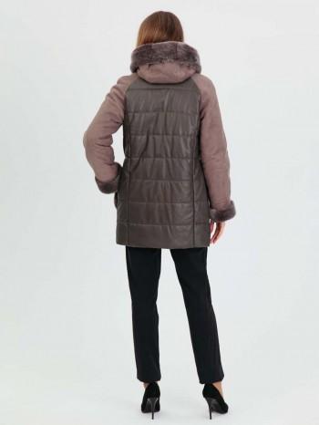 988 Бекки, Комбинированный женский пуховик с натуральной кожей, капюшон