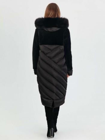 990 Корнелия, Комбинированный женский пуховик с астраганом, капюшон