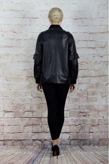 B-7018-002, Куртка женская из натуральной кожи с воротником