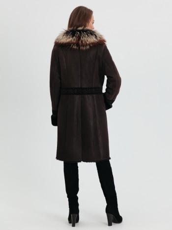 ЗФ-3477, Дубленка женская из меха тосканы с капюшоном