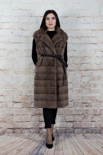 Инга 418, Жилет-пальто женский из норки, воротник