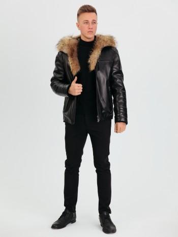 1031 Рауль, Куртка мужская из натуральной кожи, капюшон