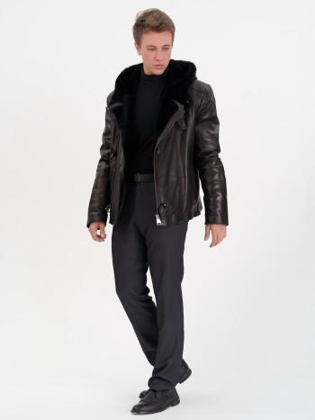 104264, Куртка мужская кожаная с меховой подкладой из овчины-мутона, капюшон