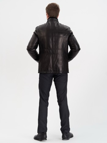 104267, Куртка мужская кожаная с меховой подкладой из овчины-мутона, воротник стойка