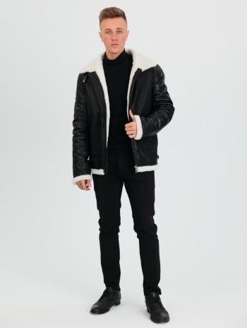 742 Авиатор, Куртка мужская из натуральной кожи, воротник