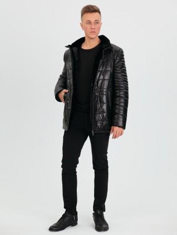 759 Росси-2, Куртка мужская из натуральной кожи, воротник