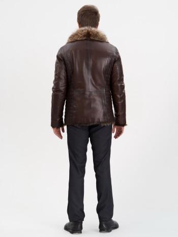 760 Рональдо, Куртка мужская кожаная с меховой подкладой из овчины-тосканы, воротник английский
