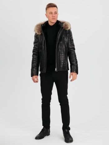764 Жан, Куртка мужская из натуральной кожи, капюшон съемный, воротник стойка