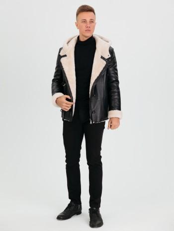 805 Дик, Куртка мужская из натуральной кожи, капюшон