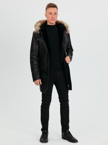 905 Армандо, Куртка мужская из натуральной кожи, капюшон