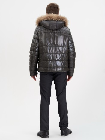 Д-7349, Куртка мужская кожаная с меховой подкладой из овчины-мутона, капюшон съемный