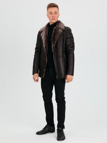 М-857, Куртка мужская из натурального меха овчины-тоскана, воротник