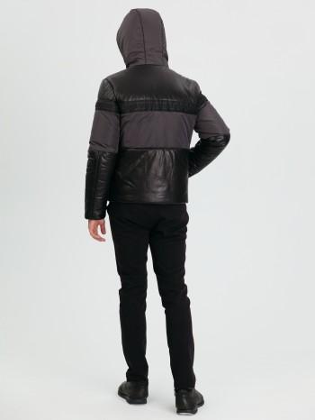 1034, Куртка мужская из натуральной кожи, капюшон