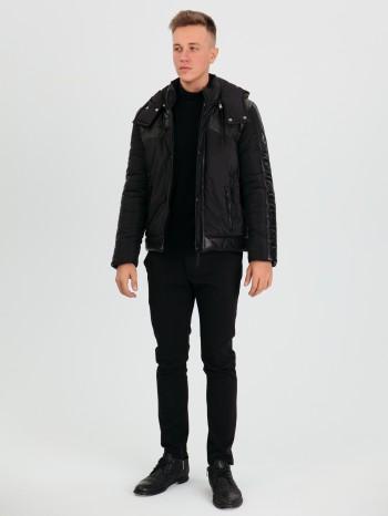 1035, Куртка мужская из натуральной кожи, воротник и съёмный капюшон