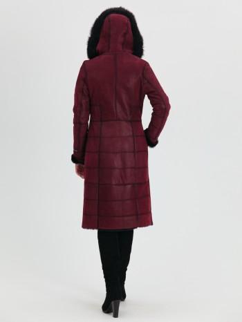 752 Валентина, Дубленка женская из меха овчины, капюшон - тоскана