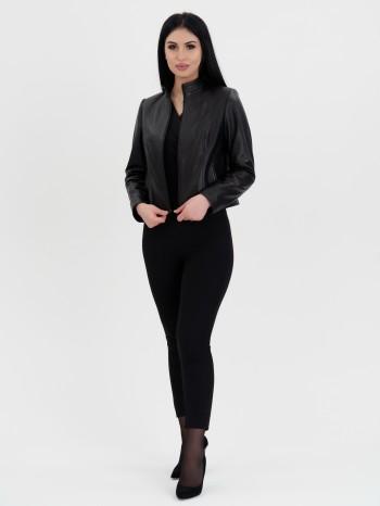 1050 Карла, Куртка женская из натуральной кожи, воротник стойка