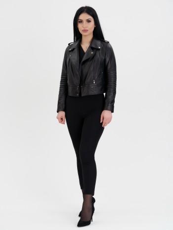 1054 Вера, Куртка женская из натуральной кожи, воротник отложной