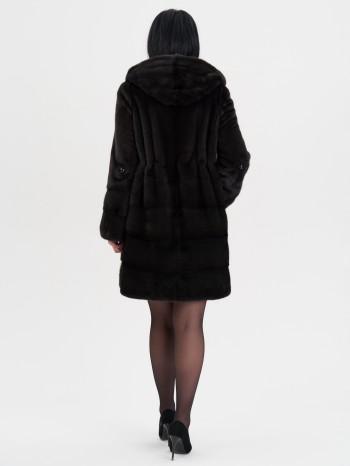 111909, Полупальто женское из меха норки с капюшоном