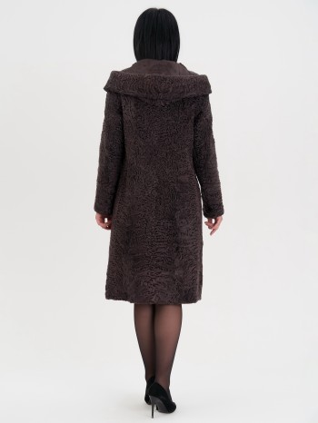 2211В, Шуба женская из меха каракуля, капюшон каракуль