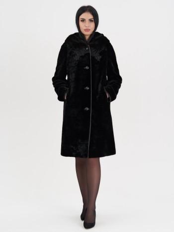 Алла-1866, Пальто женское из овчины-мутона, капюшон норка, отд.каракуль
