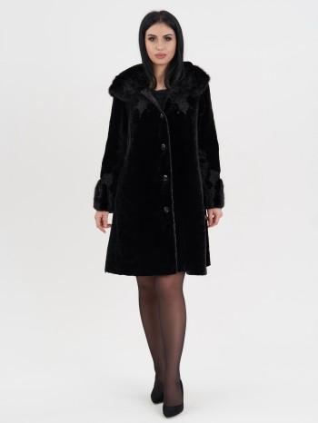 Алла-С780915, Пальто женское из овчины-мутона, капюшон-манжет норка, отд.каракуль