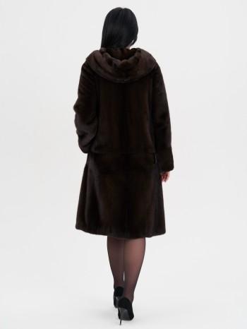 Полина-76-Н, Шуба женская из меха норки с капюшоном