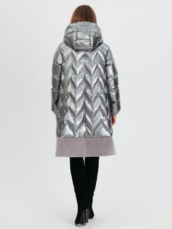 1029 Снегурочка, Пуховик женский комбинированный из меха овчины-астрагана, капюшон