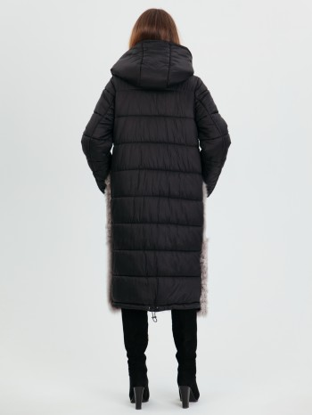 1042, Пуховик женский комбинированный из меха тиграда/керли/овчина/тоскана, капюшон