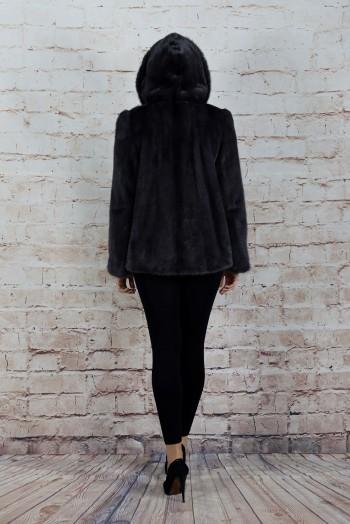 112110, Шуба женская из норки с капюшоном, внизу кулиска
