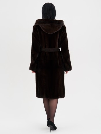 МН-714-196-Н, Шуба женская из меха норки с капюшоном